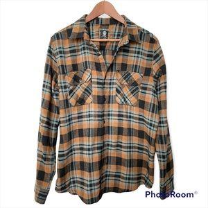 Amnesia plaid button down flannel shirt Large